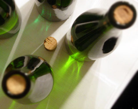 Riesling bottles and cork