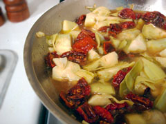 Sun-dried tomatoes and artichoke hearts