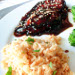 Balsamic-Glazed Chicken Breasts with Toasted Rice