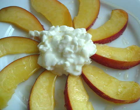 Nectarine, Cottage Cheese, and Honey