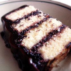 Homemade Yellow Cake with Chocolate Ganache