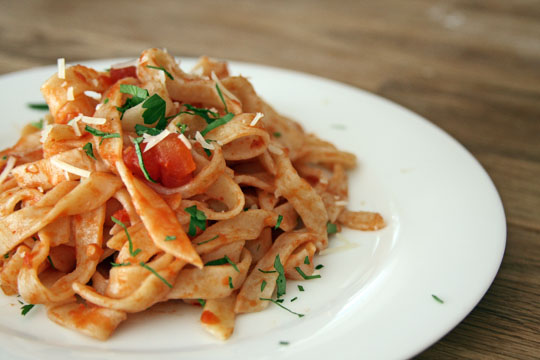 Fresh Fettuccine with Arabbiata Sauce