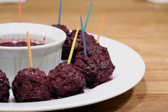 Blackberry and Pinot Noir Glazed Meatballs