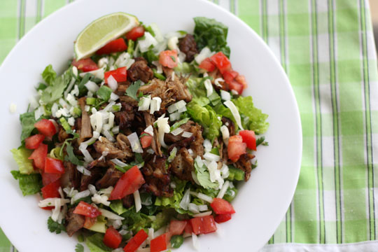 Leftover Carnitas in Salad