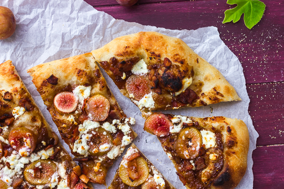 Fresh Fig & Bacon Jam Pizza with Goat Cheese