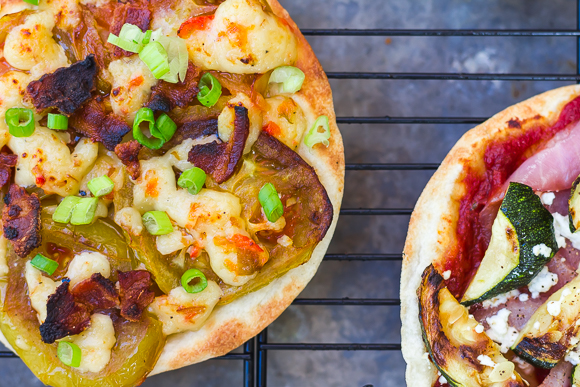 Pimento Cheese, Green Tomato, and Bacon Tortilla Pizzas