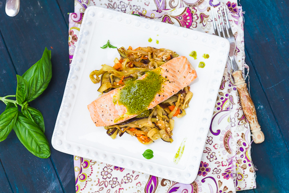 Baked Salmon with Lemony Basil Sauce