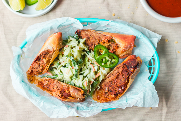 Barbecue Pulled Pork Egg Rolls with Spicy Avocado-Lime Coleslaw