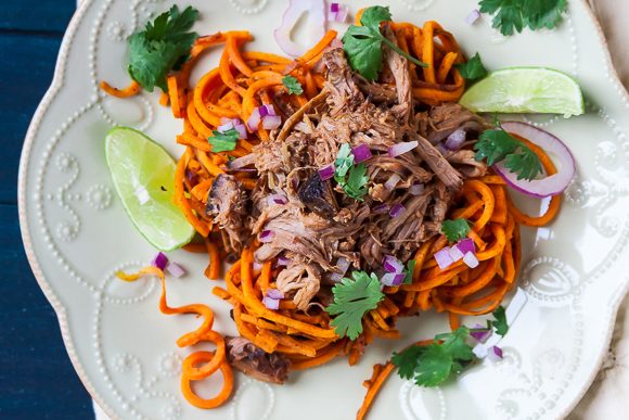 Spiralized Chipotle Lime Sweet Potato Noodles with Sweet and Spicy Pulled Pork