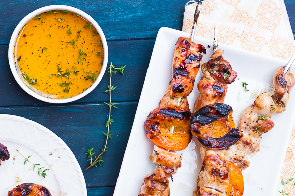 Grilled Honey-Thyme Chicken and Apricot Skewers